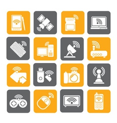 Silhouette Wireless and communications icons vector image vector image