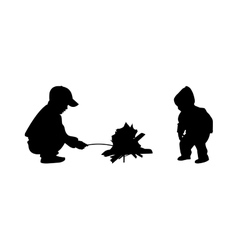 Two children at the bonfire vector image