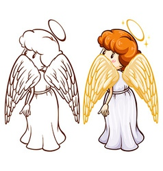 Two sketches of an angel vector image