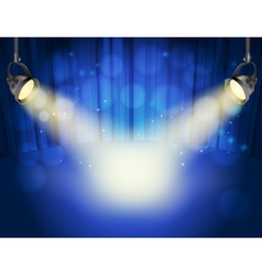 blue curtain background vector image vector image
