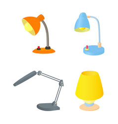 desktop lamp icon set cartoon style vector image