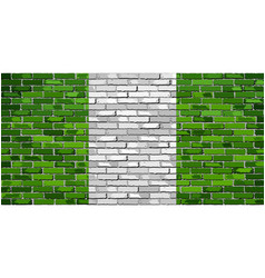 flag of nigeria on a brick wall vector image vector image