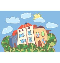 little cartoon houses vector image