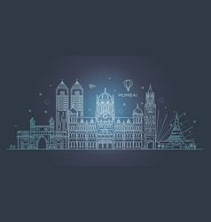 mumbai detailed skyline travel and tourism vector image