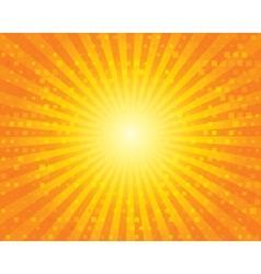 Sun Sunburst Pattern with squares Orange sky vector image