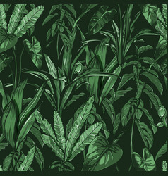 tropical leaves dense jungle seamless hand vector image