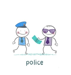 Police taking money from businessman vector image