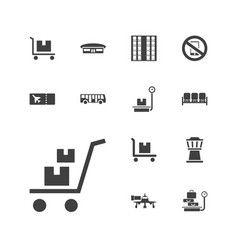 13 airport icons vector
