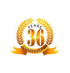 36 years ribbon anniversary vector