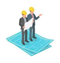 3d isometric concept of businessman or engineer in vector