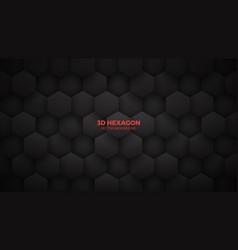 3d technological hexagon pattern dark mode vector image
