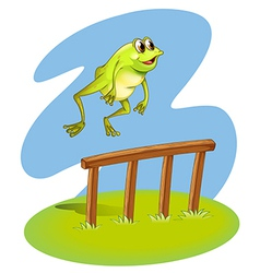 A green frog hopping vector