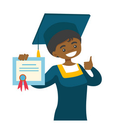 African-american graduate giving thumb up vector