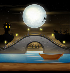 Arch bridge and dark castle on moonlight backgroun vector