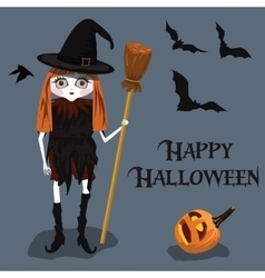 background Halloween style with witch vector image
