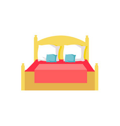 bed with red blanket pillows vector image