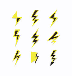 Black and yellow thunder sign lightning bolt set vector