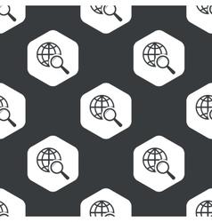 Black hexagon global search pattern vector