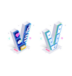 blue 3d isometric letter v made with cellular vector image