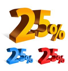 Bold 3d 25 percent letters vector
