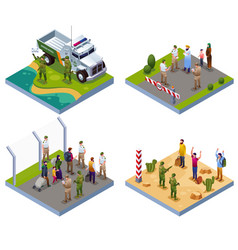 Border guards 2x2 isometric icons vector