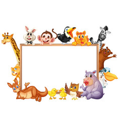 Border template with wild animals with happy face vector