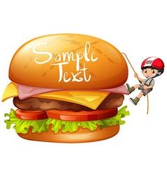 Boy climbing cheeseburger alone vector
