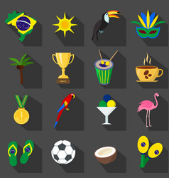 Brazil summer set of flat icons vector