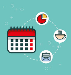business calendar chart email coffee cup office vector image