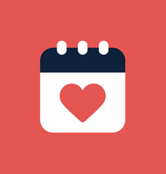 calendar valentine day icon flat vector image