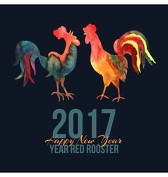 Card with fire roosters in watercolor and vector