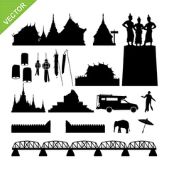 Chiang Mai symbol and landmark silhouettes vector