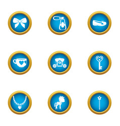 Children jewelry icons set flat style vector