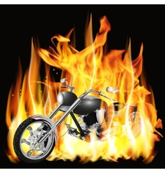 chopper with flames vector image