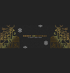 christmas and new year gold outline deer art vector image