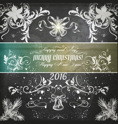 Christmas grunge greeting card on shabby texture vector