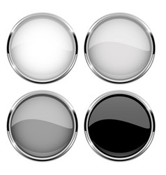 collection of glass buttons with chrome frame vector image