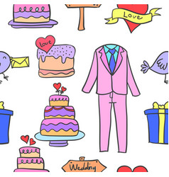 Collection of wedding party doodles vector