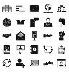 Cooperation icons set simple style vector