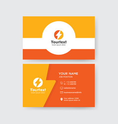 creative business card in yellow and orange color vector image