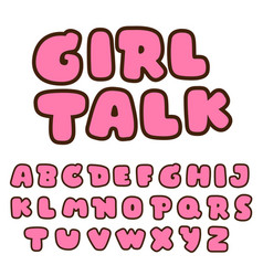 Cute bubble pink font collection vector