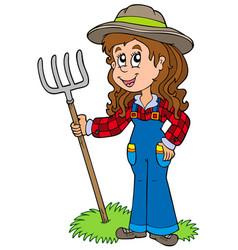 Cute farm girl vector