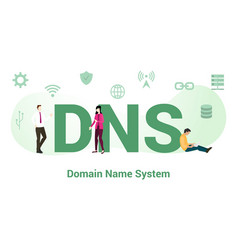 Dns domain name system concept with big word or vector