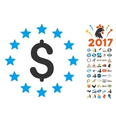 Dollar Stars Icon With 2017 Year Bonus Symbols vector image