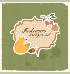 doodle fox autumn background vector image