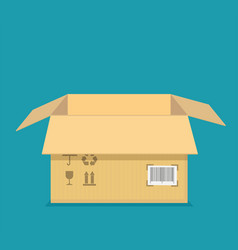 empty open box template cardboard packaging vector image