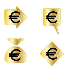 Euro sign a set of four elements vector
