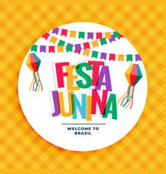 festa junina colorful background with garlands vector image