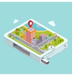 Flat map GPS navigation City Center vector image