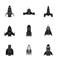 Flight in cosmo icons set simple style vector